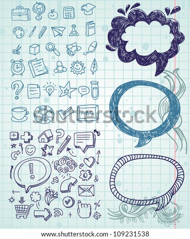 Set of vector doodles - hand drawn design elements - stock vector
