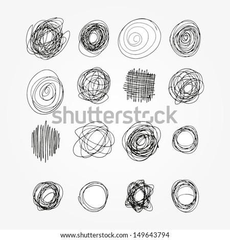 Set of vector doodles. Sketchy frames. Back to school notebook ink drawing. Design elements  - stock vector