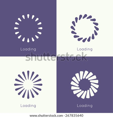 Set of vector downloaders. progress bar and loading icon. ui preloader web elements. flat design - stock vector