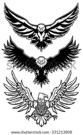 Set of vector eagles.  Logo,badge or label  design template. Vector illustration. Sport team logo template. - stock vector