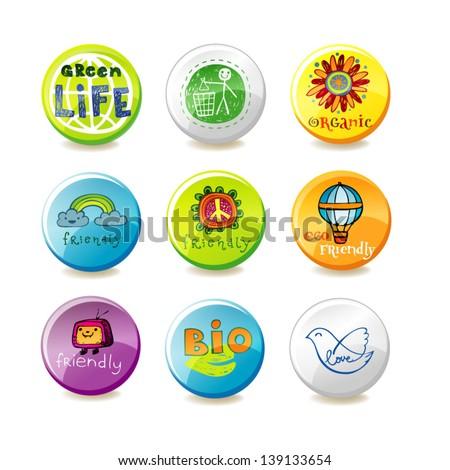 Set of vector eco badges - stock vector