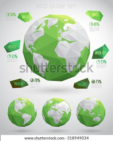 Set of vector eco globes - geometric modern style. - stock vector