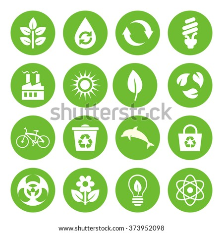 Set of vector Eco Icons in flat style, white on green basis. Ecology, Nature, Energy, Environment and Recycle Icons.