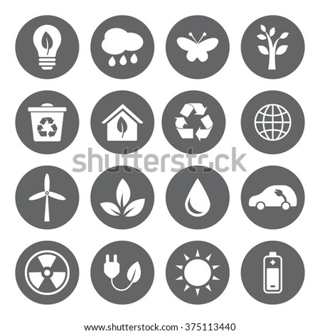 Set of vector Eco Icons in flat style, white on grey basis. Ecology, Nature, Energy, Environment and Recycle Icons.