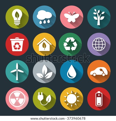 Set of vector Eco Icons in flat style with long shadows. White crown icons on colored basis. Ecology, Nature, Energy, Environment and Recycle Icons.