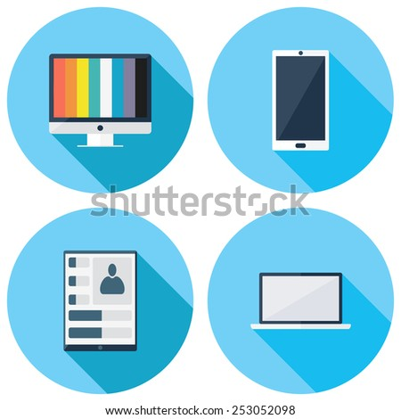 Set of vector electronic gadgets  icons.  Icons for Web and Mobile Application. EPS 10. - stock vector