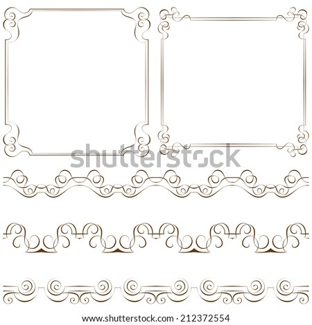 Set of vector elegant frames and borders - stock vector