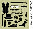 Set of vector elements for gentlemen - stock vector