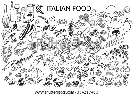 Set of vector elements for healthy food. Hand drawn. Black and white.Italian food. Vegetables, fruit, pasta, cheese, seafood, drinks.