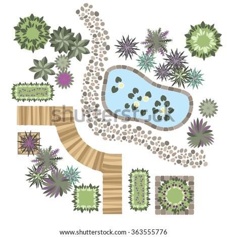 Exceptionnel Set Of Vector Elements For Landscape Design, Different Plants, Wood Path,  Stone Path