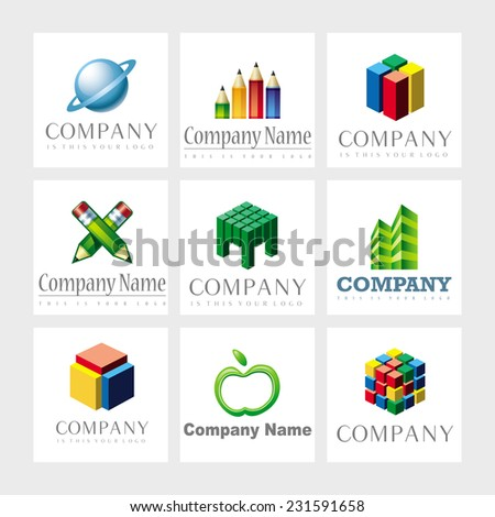 Set of 9 vector elements for logo design