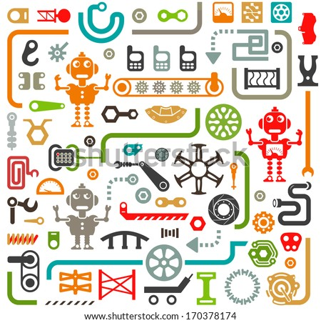 Set of Vector Elements. Industrial, Construction and Robotics Items for Your Design - stock vector