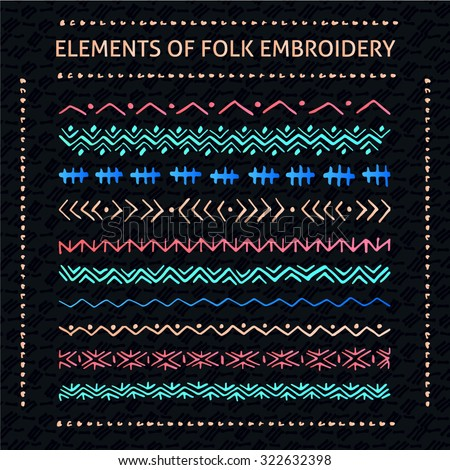 Set of vector elements of folk embroidery, stitch, stitching, border - stock vector