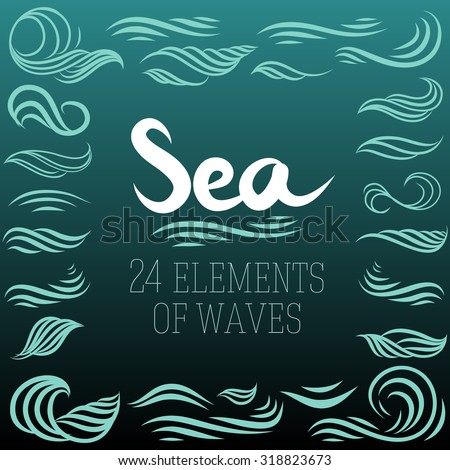 set of vector elements with sea waves in ocean blue color