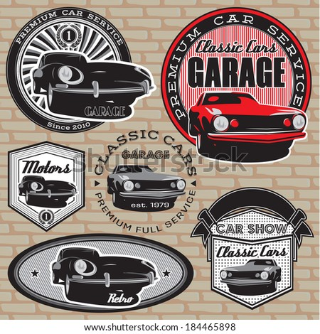 set of vector emblems with retro car on wall - stock vector