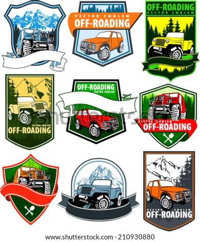 set of vector emblems with 4x4 vehicle off-road car and mountains forest - stock vector
