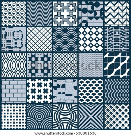 Set of vector endless geometric patterns composed with different figures like rhombuses, squares and circles. Graphic ornamental tiles made in black and white colors.