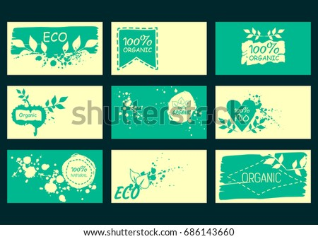 Set vector environmental business cards natural stock vector set of vector environmental business cards natural products healthy food 100 natural colourmoves Images