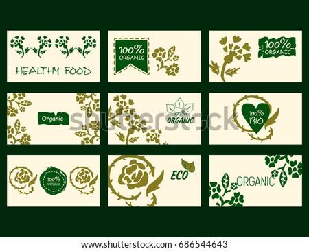 Set vector environmental business cards natural stock vector set of vector environmental business cards natural products healthy food 100 natural colourmoves