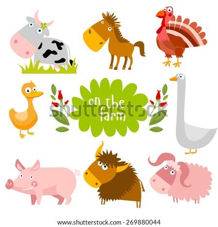 Set of vector farm animals - stock vector