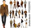 Set of 16 vector  fashion people - stock photo
