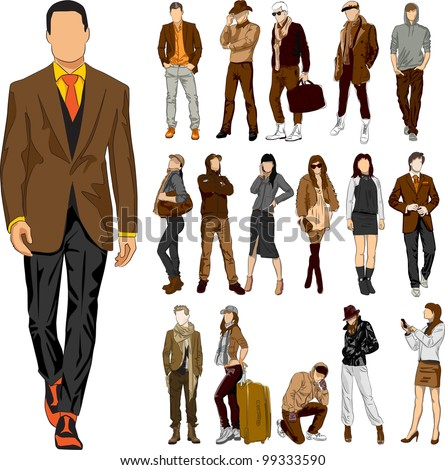 Set of 16 vector  fashion people - stock vector