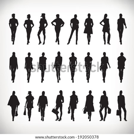Set of vector fashion people silhouettes - stock vector