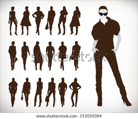 Set of vector fashion people silhouettes 0116