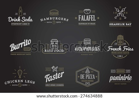 Set of Vector Fastfood Fast Food Elements Icons and Equipment as Illustration can be used as Logo or Icon in premium quality  - stock vector