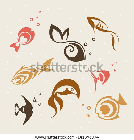 set of vector fish - stock vector