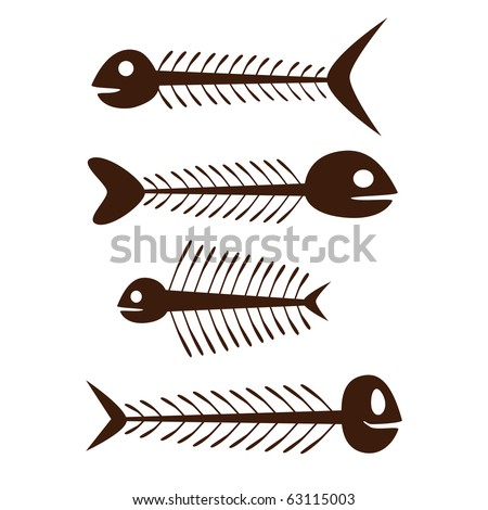 set of vector fish skeleton - brown on the white background - stock vector