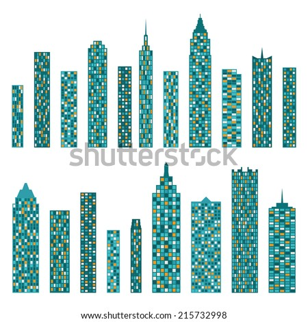 Set of vector flat building icons isolated on white background - stock vector