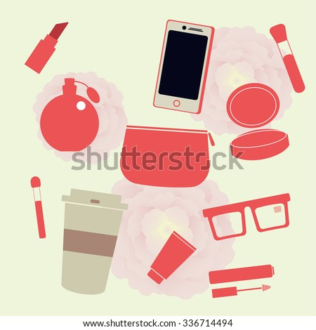 Set of vector flat cosmetics, make up icons and phone, coffee, peonies, glasses