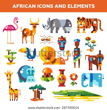 Set of vector flat design african icons and infographics elements with animals - stock vector