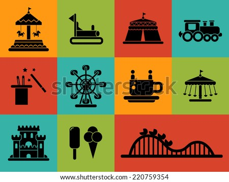 Set of vector flat design amusement park icons - stock vector