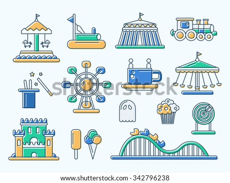 Set of vector flat design amusement park line icons - stock vector