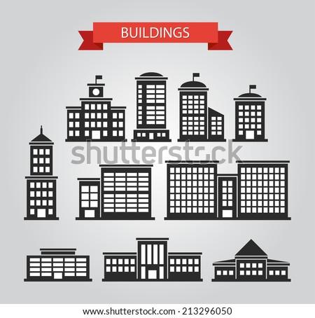 Set of vector flat design buildings pictograms - stock vector