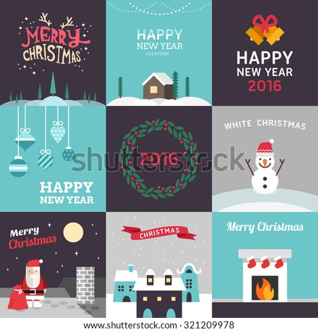 Set of Vector Flat Design Christmas and New Year Postcards. Vector Illustration - stock vector