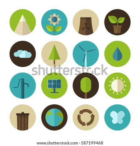 Set of vector flat design concept icons for ecology and environment - stock vector