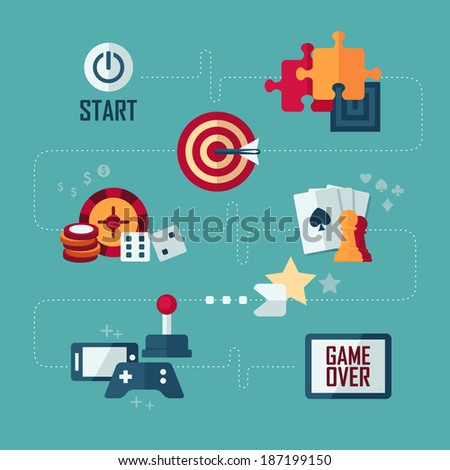 Set of vector flat design concept icons of games - stock vector