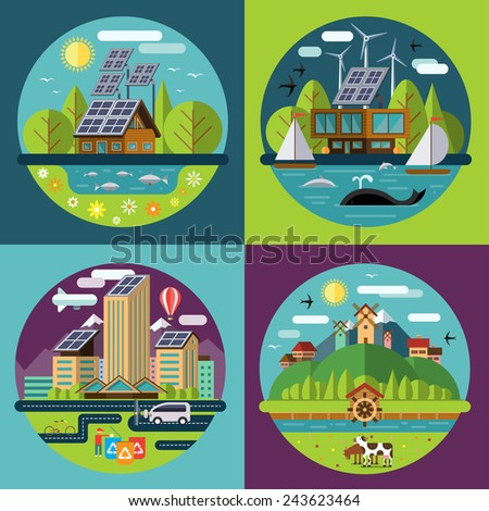 Set of vector flat design concept illustrations with icons of ecology, environment, recycling, green energy, eco city or eco village life - stock vector