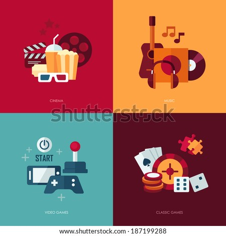 Set of vector flat design concept illustrations with icons of entertainment  - stock vector
