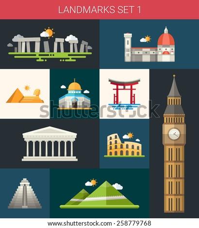 Set of vector flat design famous world landmarks icons - stock vector