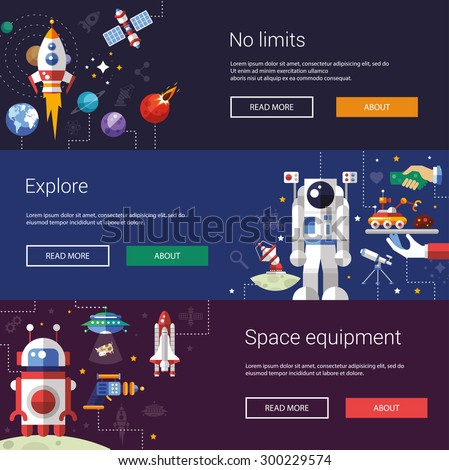 Set of vector flat design flyers and headers of space icons and infographics elements - stock vector