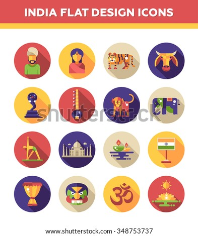 Set of vector flat design India travel icons and infographics elements with landmarks and famous Indian symbols