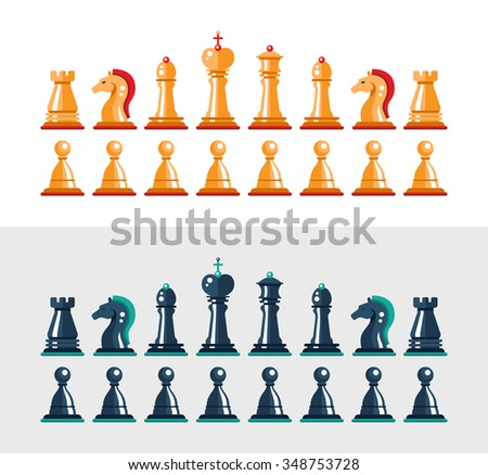 Set of vector flat design isolated black and white chess figures. Collection of the king, queen, bishop, knight, rook, and pawn