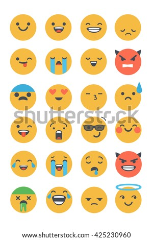 Set of vector flat emoticons. Emoji icons isolated on white background. Different emotions collection. - stock vector