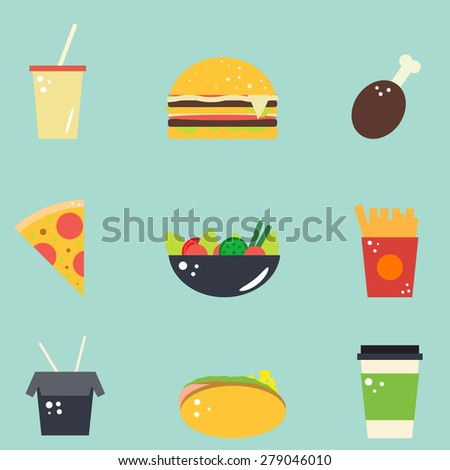 Set of vector flat food icons. Pizza, salat, coffee, french fries and hamburger