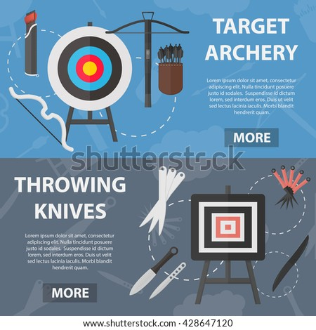 Set of vector flat horizontal banners of archery and throwing knives sport for website and apps. Business concept posters of sale of rare weapons. Set of throwing knives in flat design. - stock vector