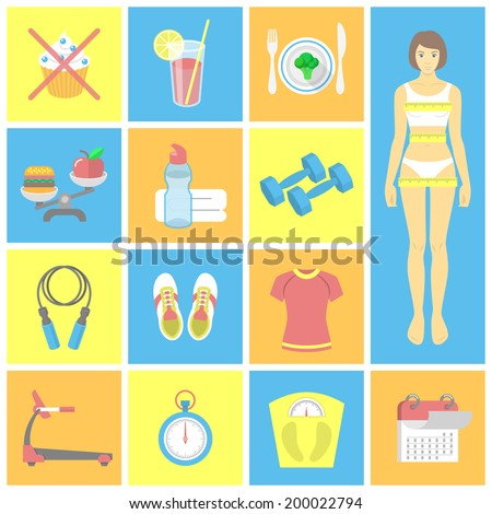 Set of vector flat icons for female fitness. Vector symbols for weight loss and gym exercises - stock vector